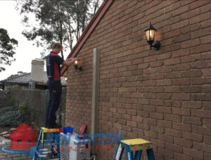 Davies installing lantern light